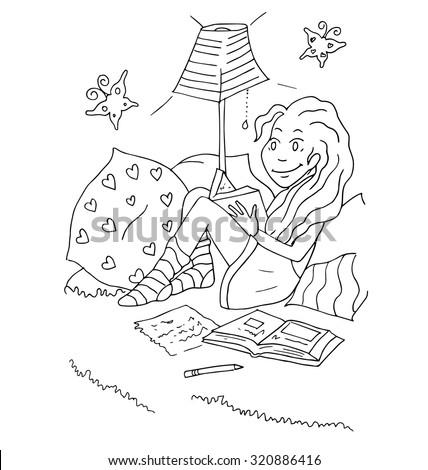 Vector Illustration Of School Girl Doing Homework