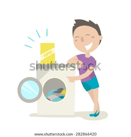 The young man in the laundry room. This day is washday. Flat design. Vector illustration.
