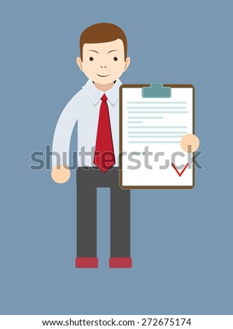 The young man - Manager with the approved document, vector illustration - stock vector