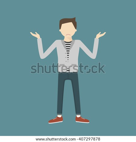 The young man shrugs sadly. A young man gesturing with open arms. Vector flat design illustration isolated. Loser. Tired, upset person - stock vector