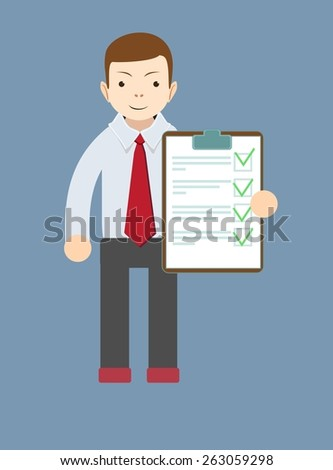 The young man with the adopted document, vector illustration - stock vector