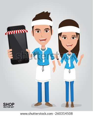 The Young Seller Showing display of his new touch mobile cell phone. Online Shop Concept - stock vector