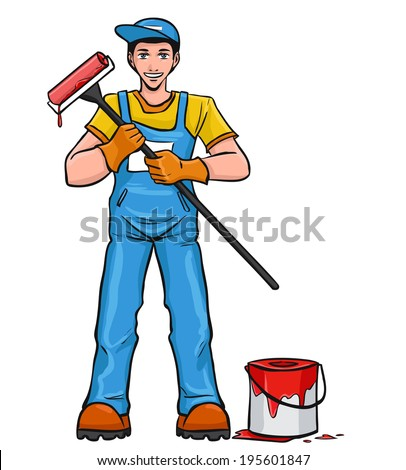 The young smiling worker in blue overalls holds the paint roller in hand. Vector cartoon.