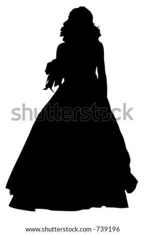 The young woman in a dress - stock vector