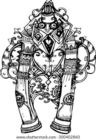 The zentangle style of robot. illustration collection.