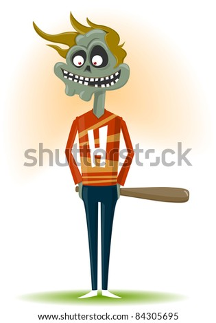 The zombie with a bat - stock vector