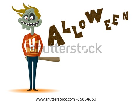 The zombie with a bat on a Halloween theme - stock vector