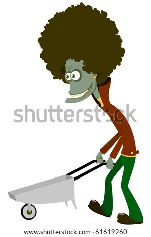 The zombie with a cart - stock vector