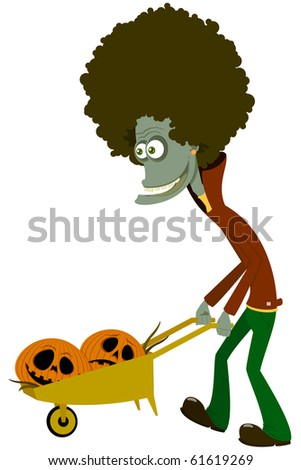 The zombie with a cart. Halloween - stock vector