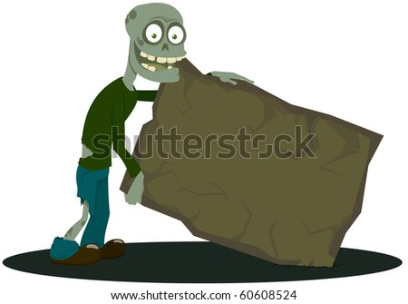 The zombie with the tablet - stock vector