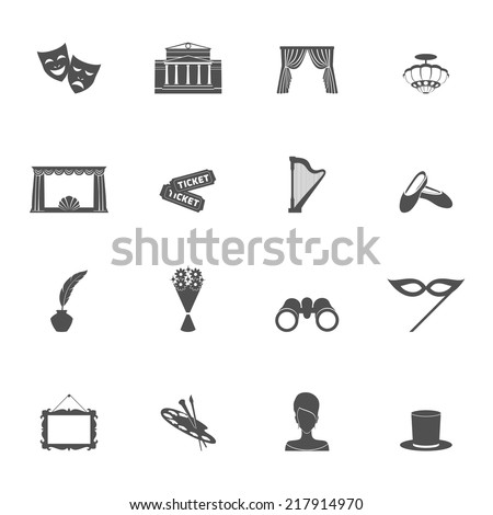 Theater acting entertainment performance icons set black isolated vector illustration - stock vector