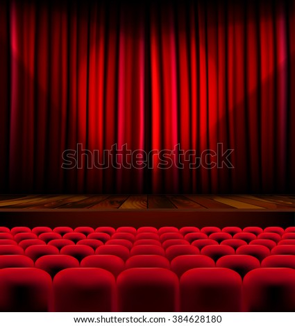 Theater auditorium with rows of red seats and stage with curtain - vector illustration - stock vector