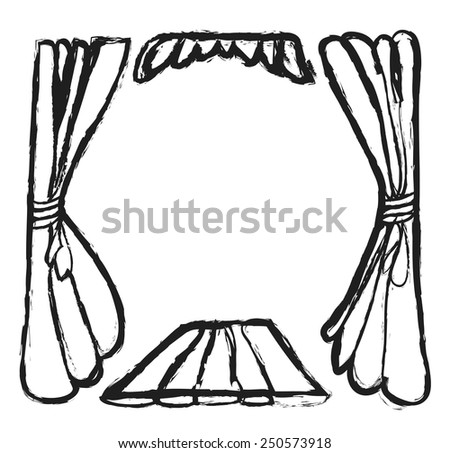 Theater curtain background, doodle vector design element - stock vector