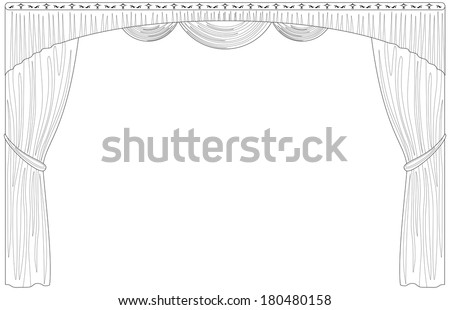 Theater curtain, black contour isolated on white background. Vector - stock vector
