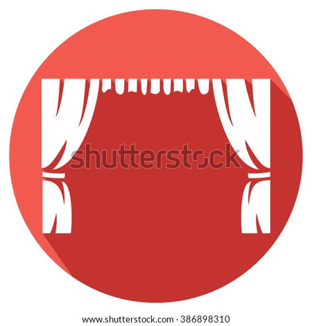 theater curtain to theater stage flat icon - stock vector