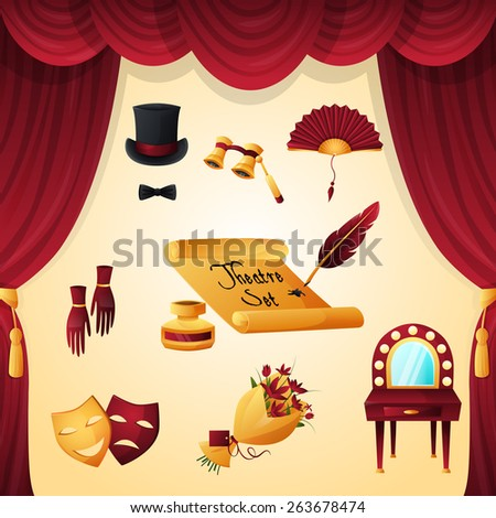 Theater entertainment and performance elements set with velvet curtain isolated vector illustration - stock vector