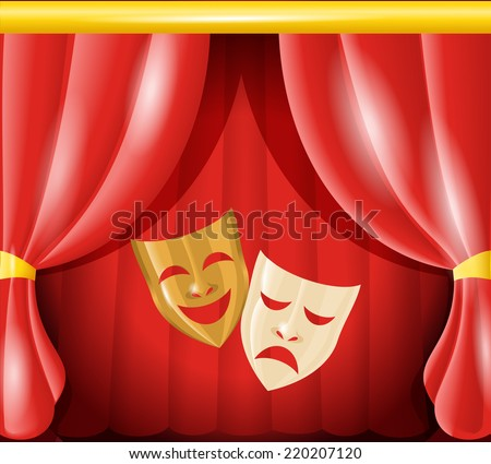 Theater happy and sad masks on red curtain background vector illustration - stock vector