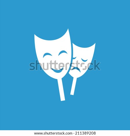 theater icon, isolated, white on the blue background. Exclusive Symbols  - stock vector