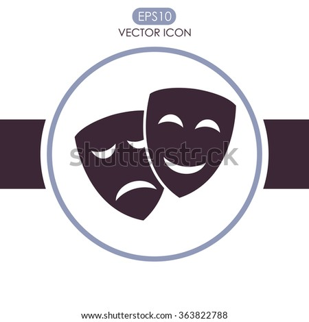 Theater icon with happy and sad masks vector icon. Comedy and tr - stock vector