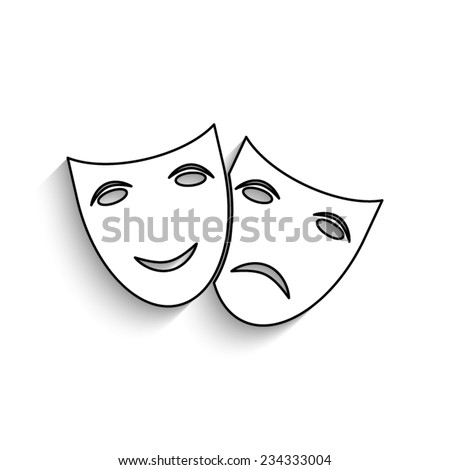 Theater icon with happy and sad masks  - vector icon with shadow - stock vector