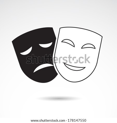 Theater icon with happy and sad masks. VECTOR illustration. - stock vector
