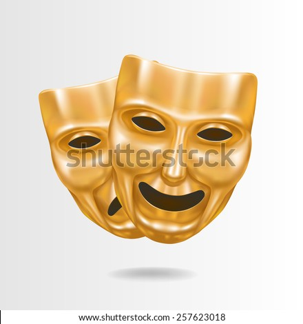 Theater masks gold - stock vector