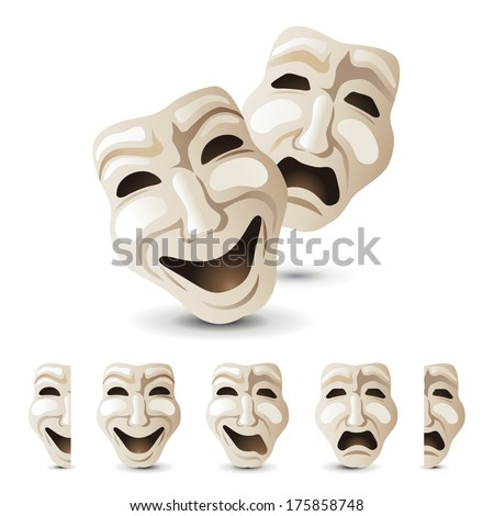 theater masks icons - stock vector