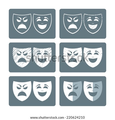Theater masks in different graphic styles - stock vector