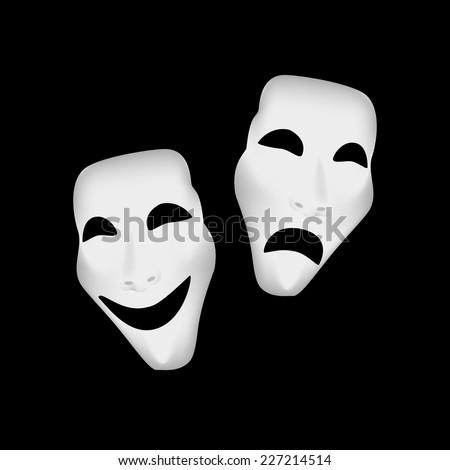 Theater masks, theater masks isolated, theater masks vector - stock vector
