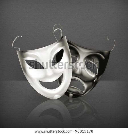 Theater masks, vector - stock vector