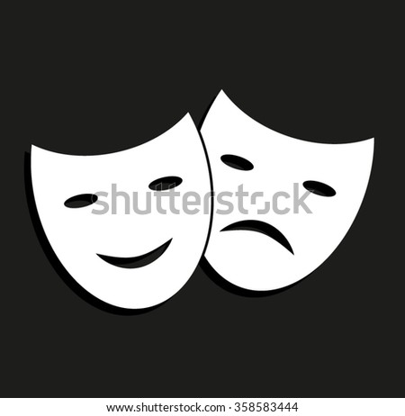Theater masks -  vector icon with shadow - stock vector