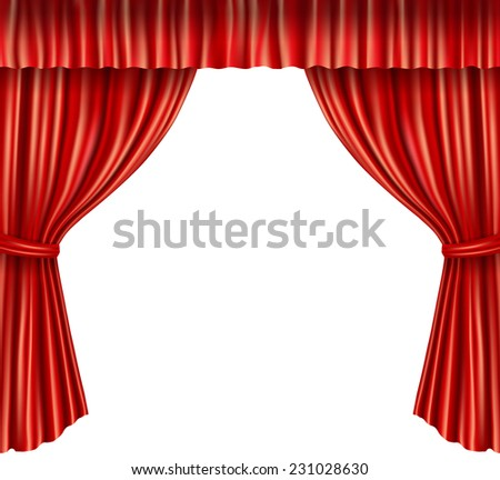 Theater stage red velvet open retro style curtain isolated on white background vector illustration - stock vector