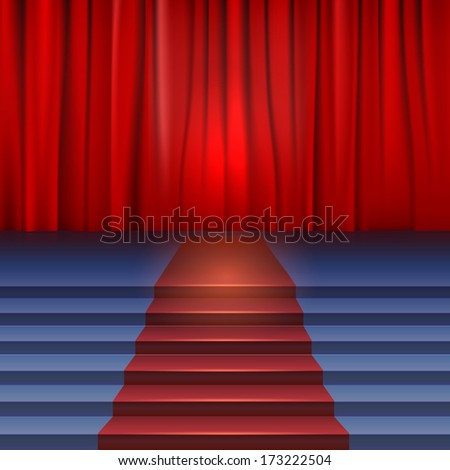 Theater stage with red curtain and carpet. Stairs covered red carpet - stock vector