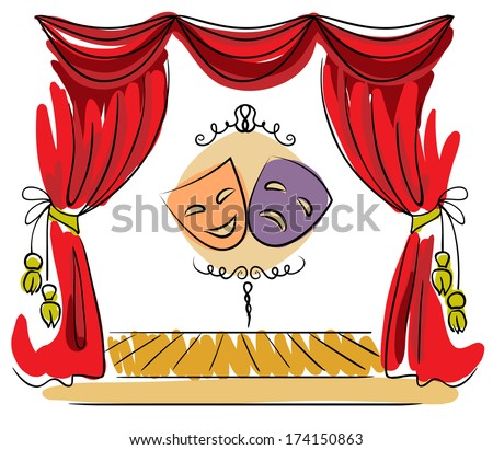 theater stage red curtain masks vector stock vector drama masks clipart free drama masks clip art transparent background
