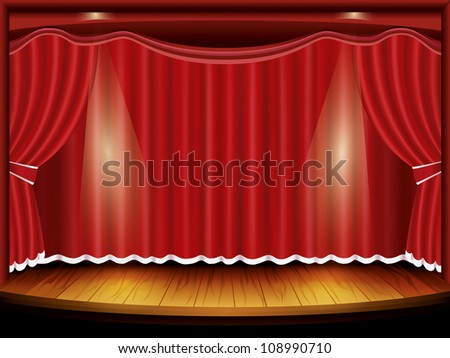 Theater stage with red curtain and spotlight, vector illustration - stock vector