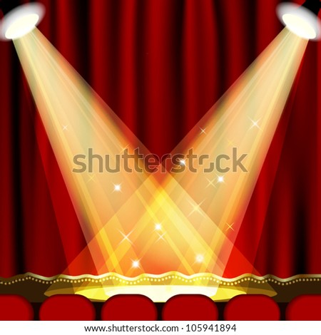 Theater stage  with red curtain. Clipping Mask. Mesh. EPS10 - stock vector