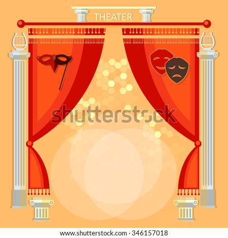 Theater stage with red curtain columns and masks vector illustration - stock vector
