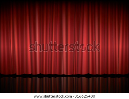 Theater stage with red curtain, vector illustration - stock vector