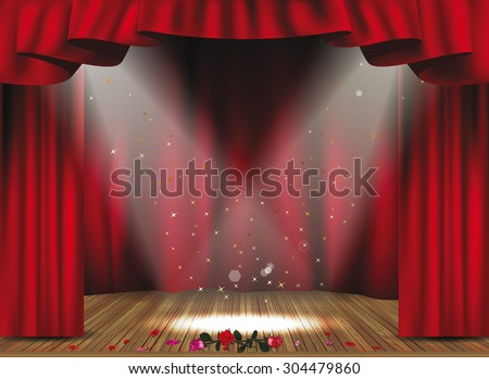 Theater stage with red curtains and flowers - stock vector