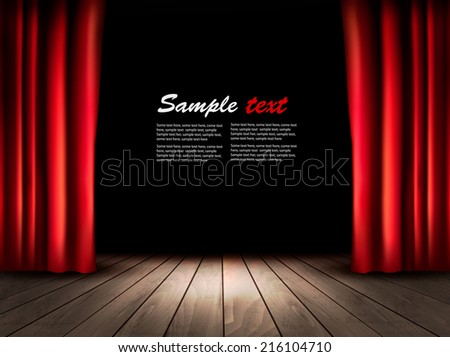 Theater stage with wooden floor and red curtains. Vector. - stock vector
