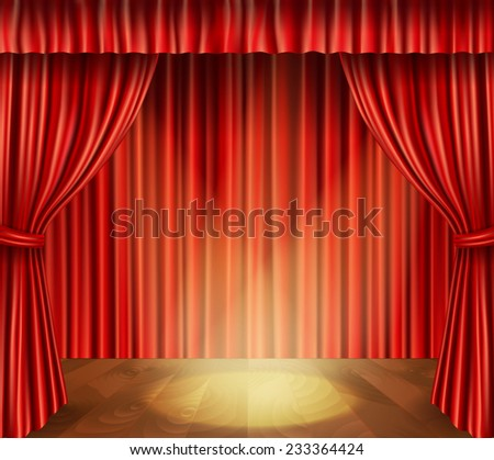 Theater stage with wooden floor red velvet retro style curtain and spotlight background vector illustration - stock vector