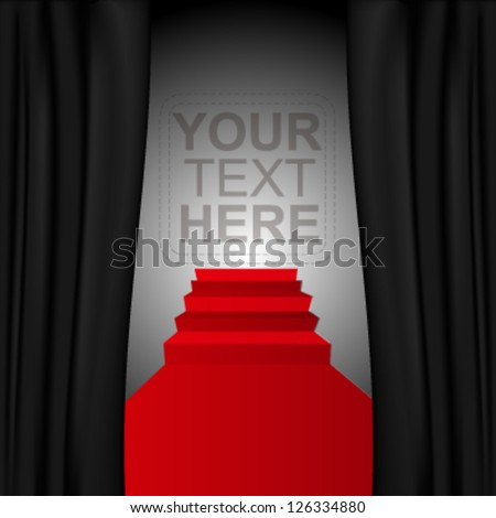 Theater style vector curtains and red steps over gradient background - stock vector