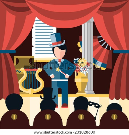 Theatre acting and theatrical play concept with actor and spectators vector illustration - stock vector