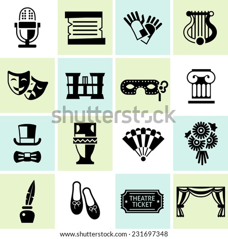 Theatre acting performance icons black set with ballet shoes microphone costume isolated vector illustration - stock vector