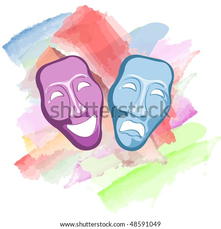 theatre comedy and tragedy masks - stock vector