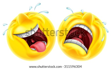 Theatre comedy tragedy mask style emoji faces one laughing and one crying - stock vector