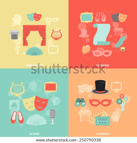 Theatre design concept set with performance actors scenario audience flat icons isolated vector illustration - stock vector