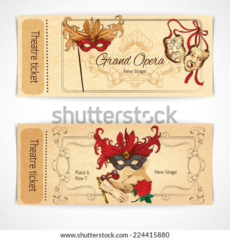 Theatre drama opera stage sketch tickets set with decoration isolated vector illustration. - stock vector
