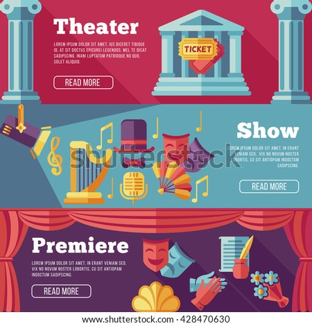 Theatre flat banners set. Premiere, show web page, poster, performance. Vector illustration  - stock vector