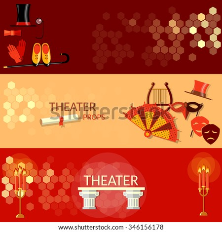 Theatre flat banners tragedy scenario actors performance theater tickets - stock vector